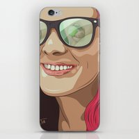 Girl With Glasses iPhone & iPod Skin
