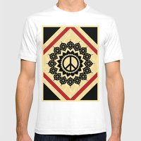 Peace Mandala Mens Fitted Tee White SMALL