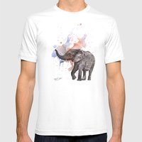 Dancing Elephant Painting Mens Fitted Tee White SMALL
