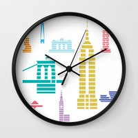 New York Skyline White Wall Clock