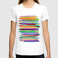 watercolor T-shirts featuring Colorful Stripes 1 by Mareike Böhmer