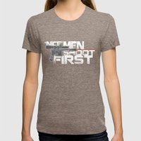 Nice Men Shoot First Womens Fitted Tee Tri-Coffee SMALL