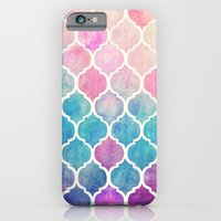 paint iPhone & iPod Cases featuring Rainbow Pastel Watercolor Moroccan Pattern by micklyn