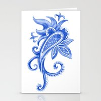 Paisley: Blue China Comb… Stationery Cards