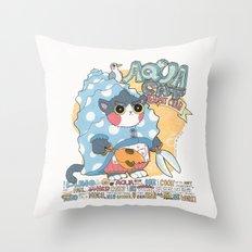 Aqua cat_Puno Throw Pillow