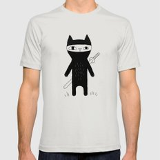 Ninja Cat Mens Fitted Tee Silver SMALL