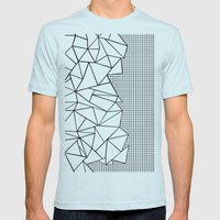Abstraction Outline Grid… Mens Fitted Tee Light Blue SMALL