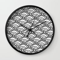 Waves All Over - Black A… Wall Clock