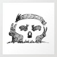 Bunny Skull Art Print