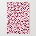 Watercolor Dots_Berry by zJacqueline and Garima Canvas Print