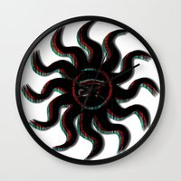 Red Egyptian Sun Wall Clock