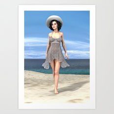Young Woman on the Beach Art Print