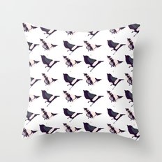 Pink and Purple Birds Throw Pillow