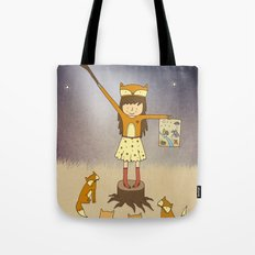 Little Fox Girl Tote Bag