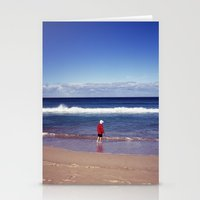 Red Jacket And Blue Ocea… Stationery Cards