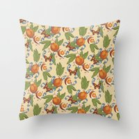 Botanical Oranges Throw Pillow