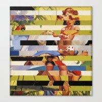 Glitch Pin-Up Redux: Far… Canvas Print