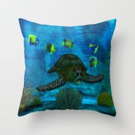 Throw Pillow featuring Into The Deep Aquarium by BohemianBound