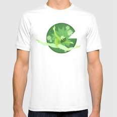 Green SMALL Mens Fitted Tee White