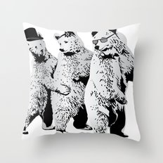 Funky Bears Throw Pillow