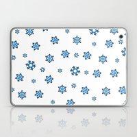 Snowflakes (Blue & Black on White) Laptop & iPad Skin