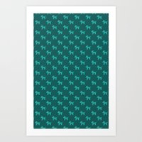 Dogs-Teal Art Print