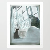 Windowsill Cats Art Print