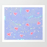Hearts And Clouds Art Print