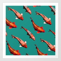 Koi in Teal Art Print