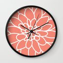 Coral Modern Dahlia Flower Wall Clock