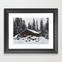 Winter Cabin Framed Art Print