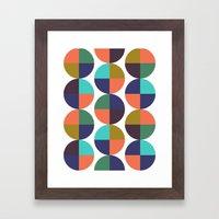 mod circles pattern Framed Art Print