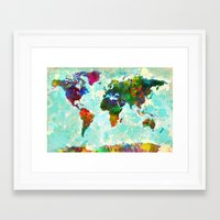 Abstract Watercolor World Map Framed Art Print