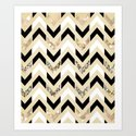 Black, White & Gold Glitter Herringbone Chevron on Nude Cream Art Print