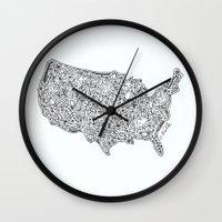 Floral USA  Wall Clock