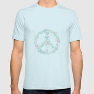 Peace And Love Mens Fitted Tee Light Blue SMALL