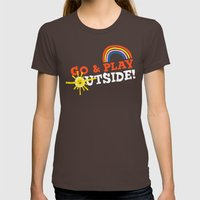 Go & Play Outside! Womens Fitted Tee Brown SMALL
