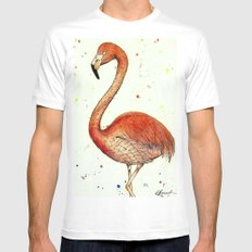 Colourful Flamingo  SMALL Mens Fitted Tee White