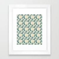 Rose Damask Teal Framed Art Print