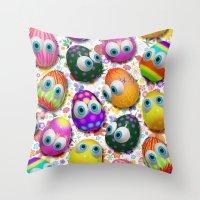 Cute Easter Eggs Cartoon… Throw Pillow