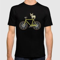 Frenchie on a Fixie Mens Fitted Tee Black SMALL