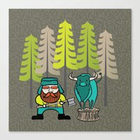 Lumberjack & Blue Ox Canvas Print