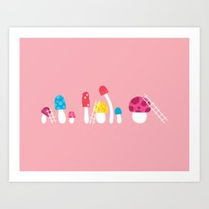 Mushroom Maintenance Pink Art Print