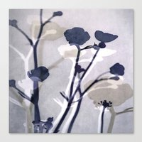 abstract florals  ~ color option deep blue Canvas Print