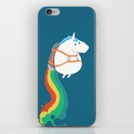 Fat Unicorn On Rainbow J… iPhone & iPod Skin