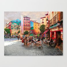 Drinking coffee at sunset Canvas Print
