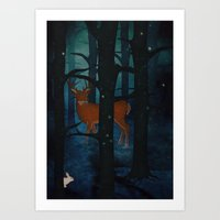 Winter Woods at Night Art Print