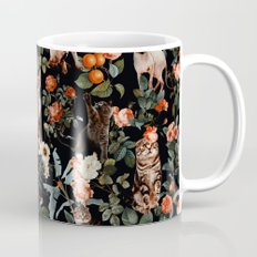 Cat and Floral Pattern II Mug