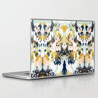 california Laptop & iPad Skins featuring Sloane - Abstract painting in modern fresh colors navy, mint, blush, cream, white, and gold by CharlotteWinter