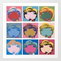 9x Marilyn  Art Print